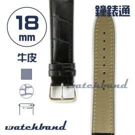 【鐘錶通】C1.10AA《霧面系列》鱷魚格紋-18mm 霧面黑(手拉錶耳)┝手錶錶帶/皮帶/牛皮錶帶┥