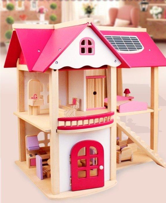 [宅大網] 193772 娃娃房 粉色 別墅 木製 DIY 房子 家 辦家家酒 生日禮物 粉色房屋