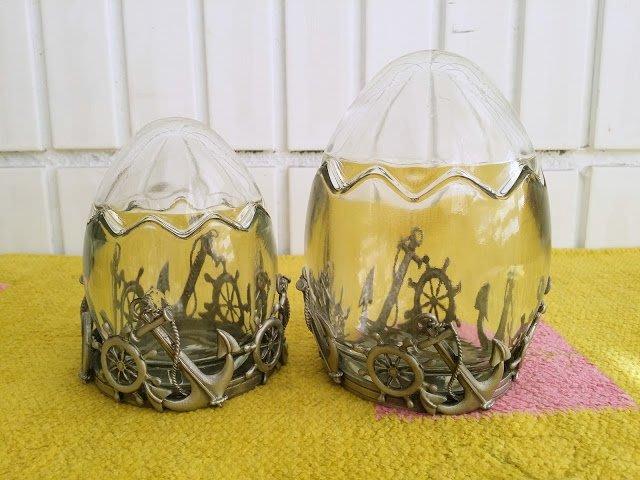 ~蘇菲亞精品傢飾~外銷歐美多用途海洋風玻璃蛋型擺飾/收納罐