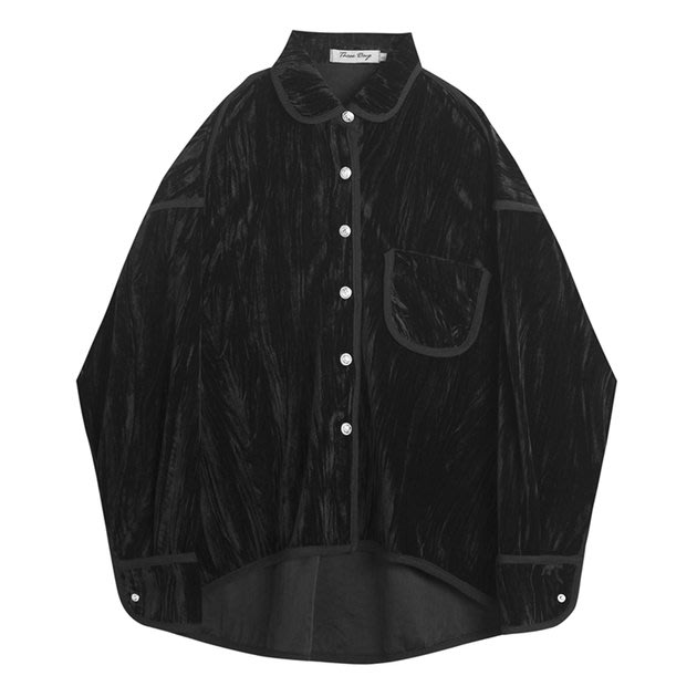 FINDSENSE 2019 秋季上新 G7 暗黑山本風小眾復古絲絨壓皺時尚長袖襯衫黑色襯衫素面上衣男裝