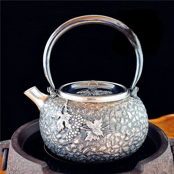 5Cgo【茗道】含稅會員有優惠  36229883685 銀壺純銀燒水壺銀壺煮水銀壺一張打銀壺手工製作燒茶壺養茶壺創意