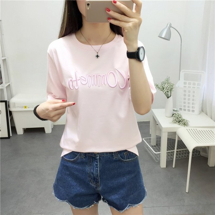 夏季女裝短袖T恤 寬松大碼圓領短袖T恤微寬松款夏季新款韓版字母女裝T恤上衣