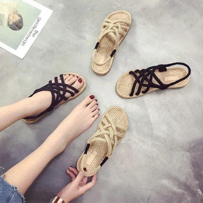 (特價)韓版草編麻繩鞋編織鞋涼鞋女鞋