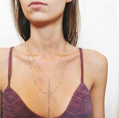 《巴黎拜金女》百搭性感Y字型雙層亮片項鍊鎖骨頸鍊脖頸飾品