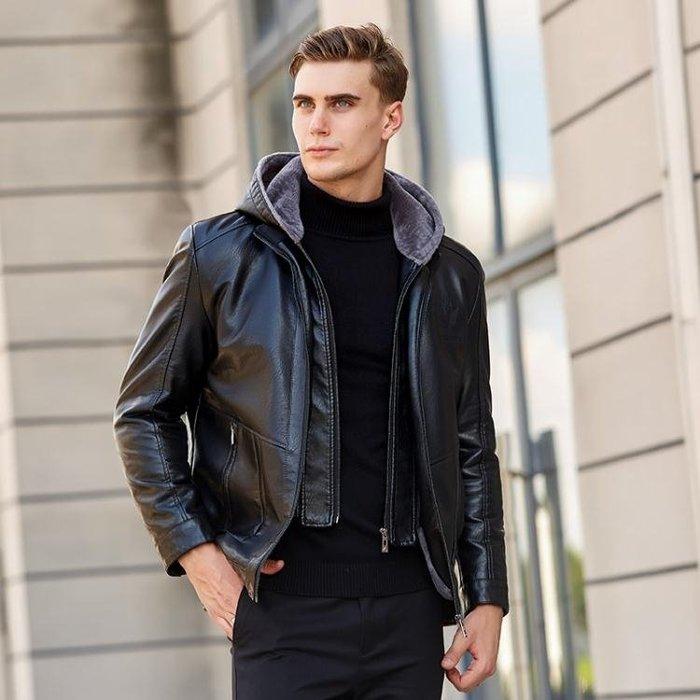 中年男士休閒皮衣冬裝加厚外套中老年冬季加絨皮夾克父親PU皮棉衣-小精靈生活館