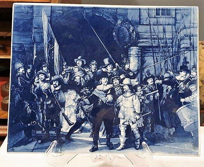 【卡卡頌 歐洲古董】荷蘭老件 林布蘭  夜巡  限量  版權  大瓷板畫  p1753 ✬