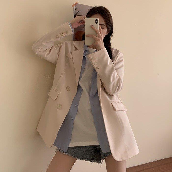 小香風 短袖T恤 時尚穿搭 英倫風寬松中長款網紅時尚薄款長袖西裝流行外套女裝