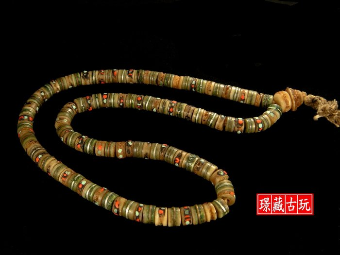 ﹣﹦≡|璟藏古玩|藏傳老骨雕唸珠串108顆(老銅綠)∥(直購價)∥≡ ﹦﹣