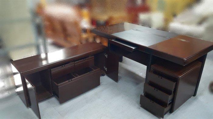 【宏品二手家】C0109AJJA 六尺胡桃色主管桌(1組) 會議桌 書桌 電腦桌 中古辦公家具 【全新中古傢俱家電】