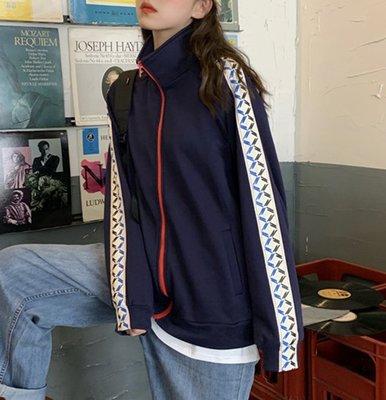 SeyeS  復古古著雜誌款美式休閒滾邊運動外套
