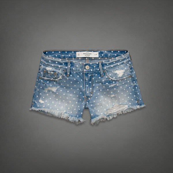 美國 Abercrombie & Fitch_A&F_A&F MID RISE SHORTS 可愛原點仿刷破牛仔短褲