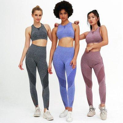 歐美瑜伽服套裝女新透氣吸汗新彈力顯瘦緊身運動健新身套裝Yoga Suitsax