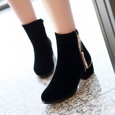 yes99buy加盟-純色小矮跟短筒女靴