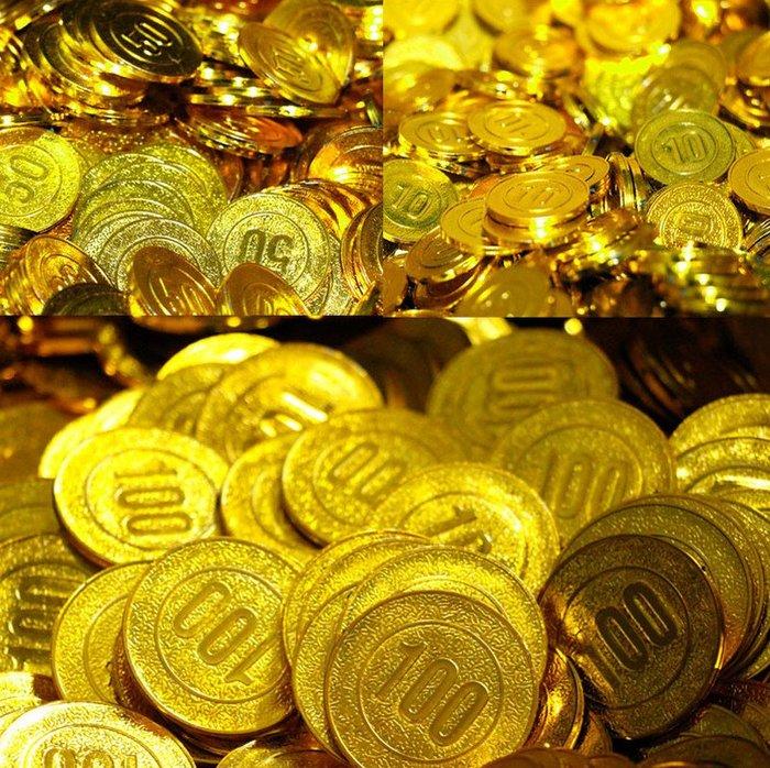 塑膠金幣-面值金幣 活動抽獎道具 硬幣 海盜錢幣 遊戲籌碼 代幣 寶藏金幣(面值100元)_☆好物優HiGoods☆
