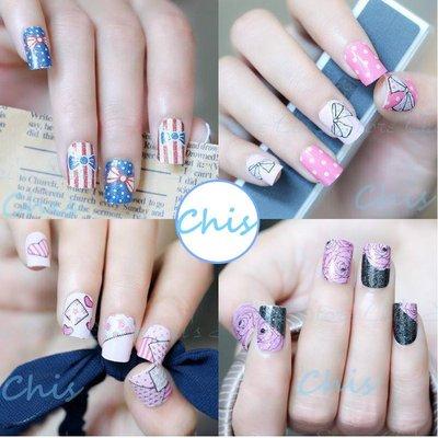 Chis Store 出清隨機3張100元 歐美時尚卡通可愛造型指甲貼紙 美甲指甲油貼花 彩繪指甲果凍指甲貼片法式指甲貼