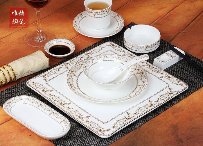 【優上精品】批發 陶瓷酒店擺台餐具套裝 高檔金花邊高溫盤碗(Z-P3277)