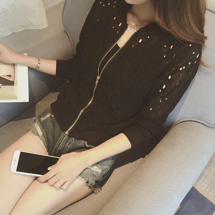❤ Shinena 千奈公主❤拉鍊式薄款摟空蕾絲花朵棉質小外套 薄外套【8004】