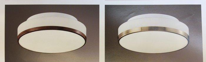 白玉玻璃 雙燈 吸頂燈 E27*2 可裝LED燈泡 鐵藝電鍍烤漆 玄關 陽台 走道 香檳色 木紋色 可選擇