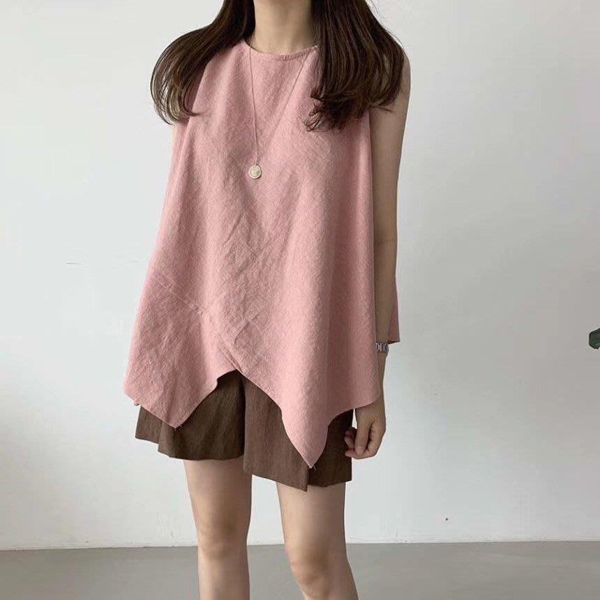正韓交叉設計感傘型棉麻背心
