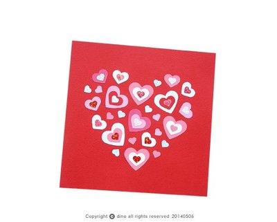 【Dino小恐龍:手創館】手工卡片:幸福愛心萬用卡 C(情人卡、母親卡、感謝卡)