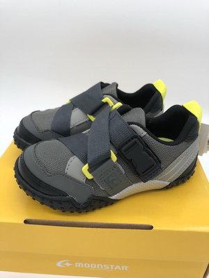 《日本Moonstar》玩耍速乾 腳踏車鞋系列 2E寬楦 防撥水款-灰(14.0-19.0cm)C2215819FW