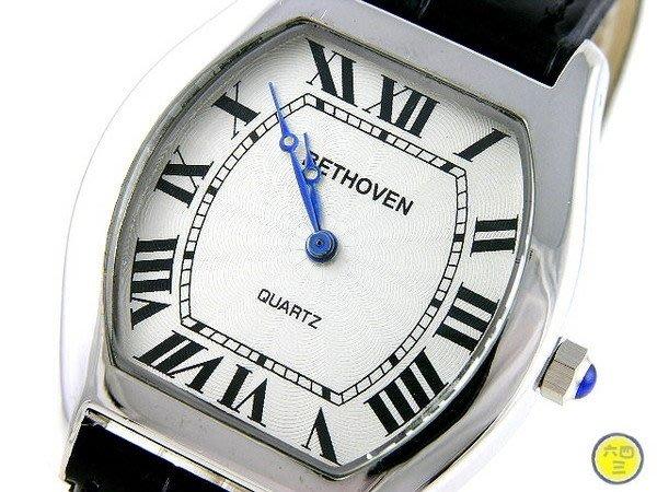 @(六四三精品)@BETHOVEN(真品精準手錶.酒桶造型高品味.白色面盤.羅馬感性數字