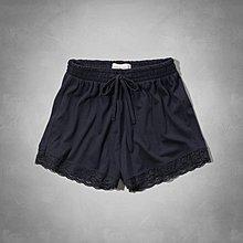 Maple麋鹿小舖 Abercrombie&Fitch * AF 深藍色蕾絲短褲*( 現貨M號 )