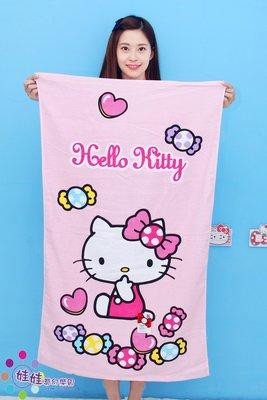 娃娃夢幻樂園~HELLO KITTY浴巾/kitty小浴巾~正版三立鷗凱蒂貓~kitty浴巾~台灣製