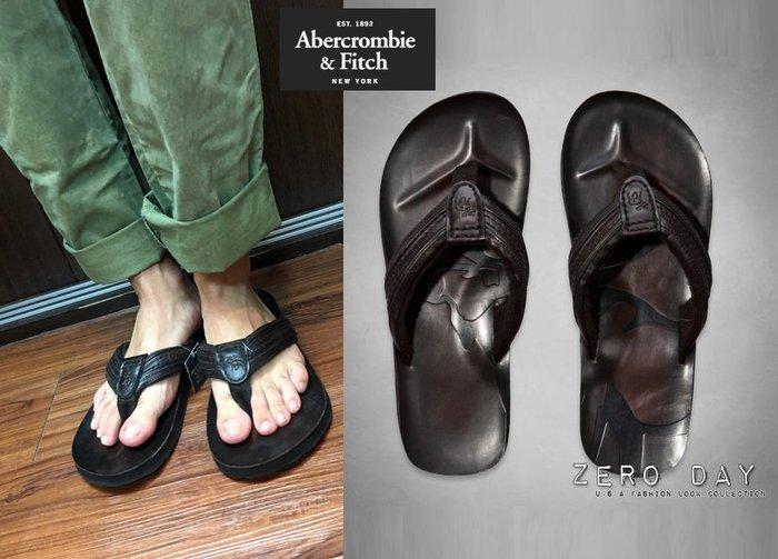 【零時差美國時尚網】A&F Abercrombie&Fitch Genuine Leather Flip Flops帥氣大麋鹿壓紋人字真皮拖鞋
