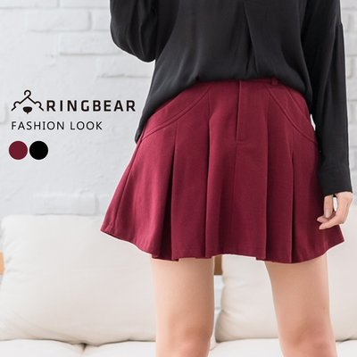 短褲--甜美可人雙側斜口袋前拉鍊後鬆緊百摺毛呢褲裙(黑.紅XL-5L)-R174眼圈熊中大尺碼