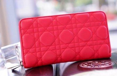 Dior 43047P zip wallet 小羊皮菱格紋拉鍊長夾 桃紅