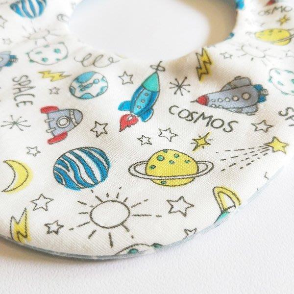 米咕手作 △ 寶寶六重紗 圍兜兜 / 口水巾 / 領巾 |外太空 VS 北極熊| 雙面都美美的