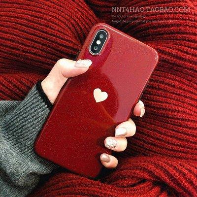 手機殼 蘋果ins簡約iPhone xs max手機殼女潮牌6s plus蘋果8plus光面手機套7plus網紅酒紅iPhonex愛心全包邊殼