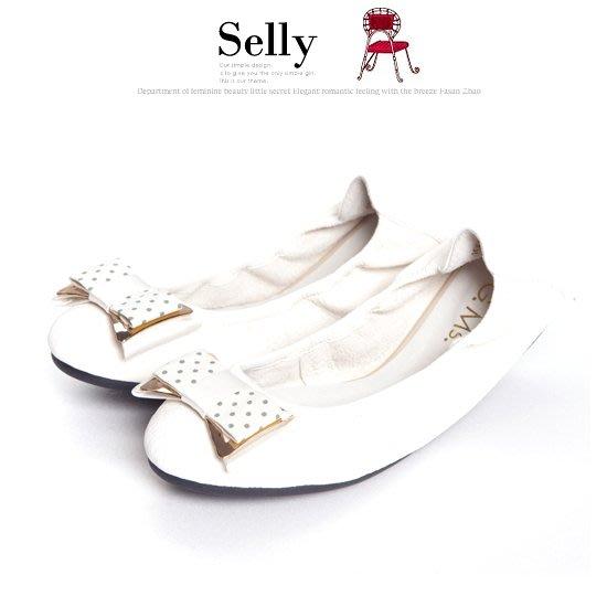 Selly outlet 輕旅行-水玉點點布金屬蝴蝶結折疊旅行鞋(S065)牛奶白38號 NG301