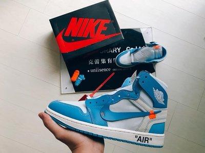 【uniisence】終極聯名 Off-White x Nike Air Jordan 1 AJ1 UNC 北卡藍 (售