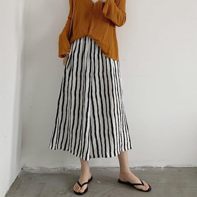 小野千尋 【P4832】3B11韓。薄款涼爽冰絲麻條紋寬褲F.預購。
