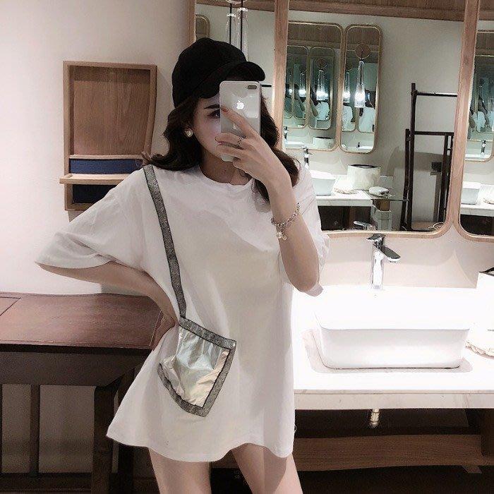 小香風 短袖T恤 時尚穿搭 韓版 女裝時尚圓領百搭亮絲拼皮口袋長款短袖T恤上衣