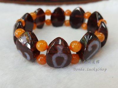 西藏瑪卡石葉子造型天珠材質圖騰手排手珠黃金龍麟玉髓天然純淨老礦新採 磁場乾淨 能量強 【東大開運館】