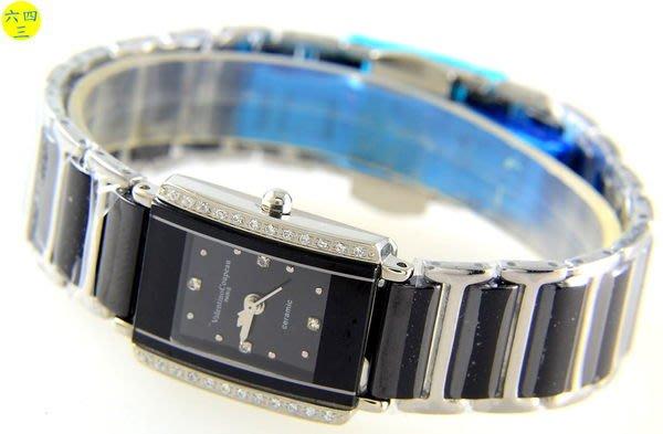 @(六四三鐘錶精品店)@范倫鐵諾(爪鑲晶鑽)(真品)黑陶瓷藍寶石水晶玻璃頂級陶瓷女錶