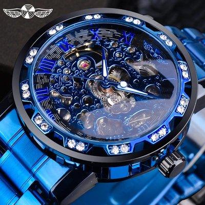 Louis手錶手錶男機械錶鏤空概念個性學生正韓夜光簡約時尚潮流男士手錶水鉆