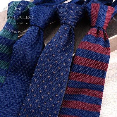 領帶 領巾 領結 領夾 領巾夾男時尚韓版休閑百搭毛線針織 英倫尖頭型窄版領帶禮盒裝 6cm寬度