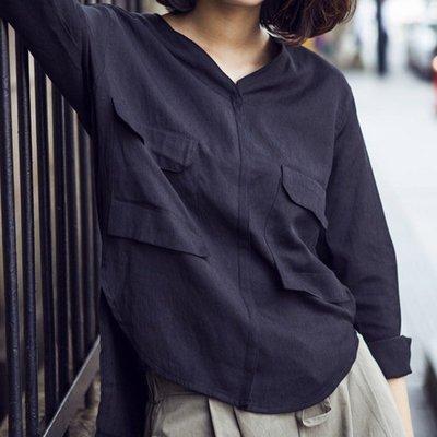 現貨 黑S號 V領時尚簡約前短後長襯衫【ZOWOO-0306】中大尺碼中長版薄外套