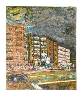 【藏家釋出】 早期收藏 ◎《油畫 ◎ 城市街景一隅》描繪生動傳神 ◎ 工法到味-18