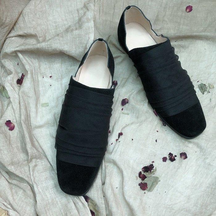 *菇涼家*一個人/ 小眾設計暗黑系磨砂丝带低帮鞋懒人鞋 山本風