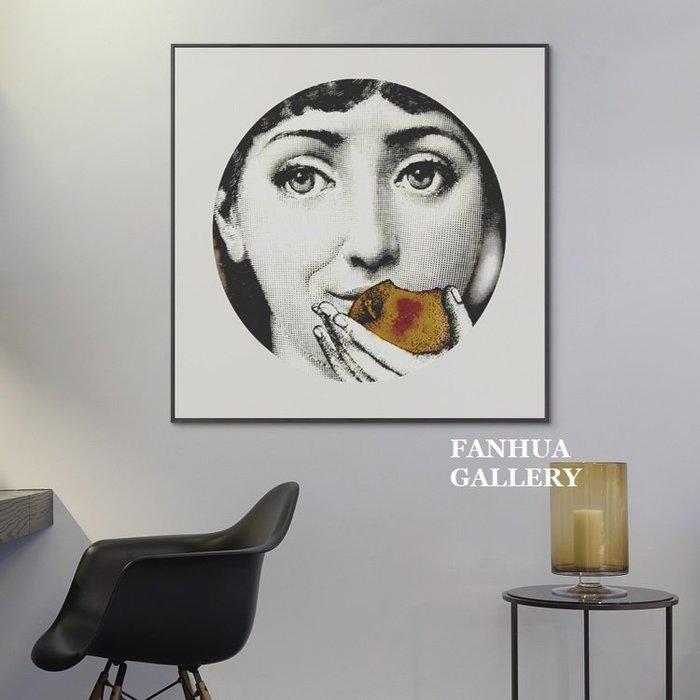 C - R - A - Z - Y - T - O - W - N fornasetti法國人臉紅唇美女義大利藝術風格版畫北歐藝術畫沙發掛畫商業設計空間裝飾畫
