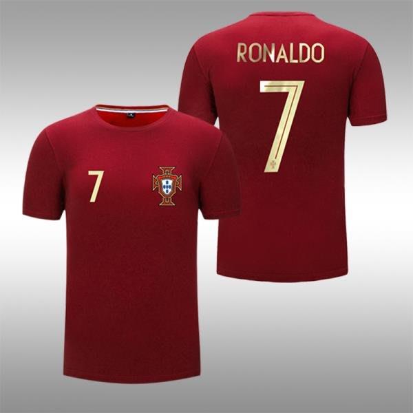 俄羅斯世界杯葡萄牙球迷T恤7號C羅主場紅色寬松休閑足球短袖 YYBB