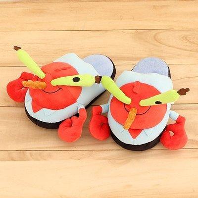 女款 海綿寶寶 蟹老闆 立體娃娃絨毛室內拖保暖拖鞋 室內拖鞋 平底拖鞋 品 Ovan