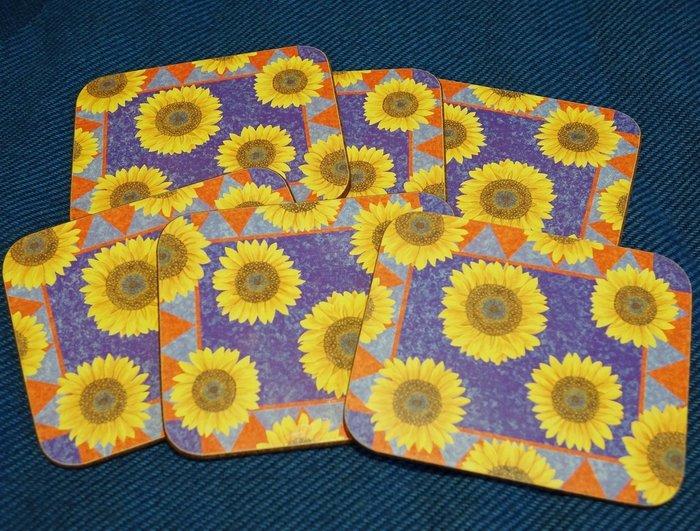 全新紐西蘭帶回 從未用過的 Jason Coasters 向日葵太陽花 設計杯墊隔熱墊,一組六個!低價起標無底價!