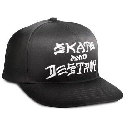 【THRASHER】Skate And Destroy Snapback帽子(黑色)