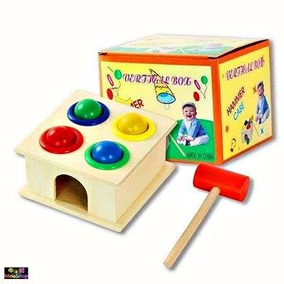 木制敲打球台 敲打小搥盒 木製小錘子敲球台 敲打木製玩具 木錘盒 捶球玩具 打樁敲球臺槌球台打地鼠 寶寶敲敲打打【牛舖】